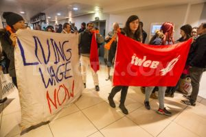 IWGB members protest at John Lewis in Oxford St over the failure to pay cleaners the living wage and give them the same rights as other workers.