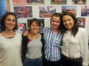 Standing L-R: Antonia Asenjo (Interpreter), Serafina Vick (Interpreter), Jess Bilcock (Press Associate) and Marisol Caregnato (Interpreter)